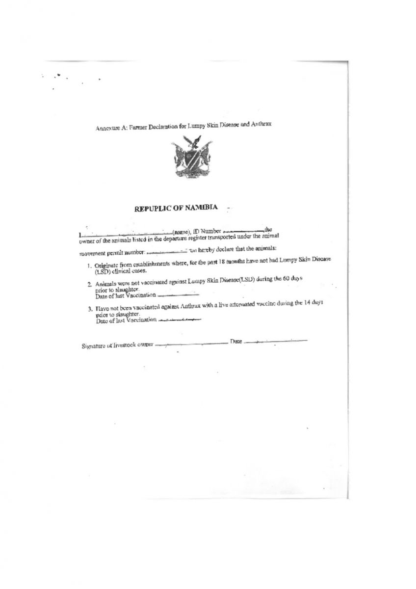 Notice Completion Of Dvs Health Declaration For Slaughtering Animals At Meatco